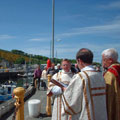 Rogation Sunday 2001 Quayside - Fr Duncan with Fr Neville as Deacon and Ian Faulds as SubDeacon