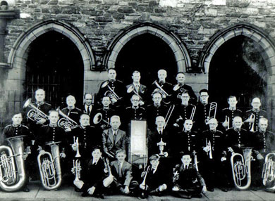 St. matthew's Parish Band after winning  in the Manx Music Festival in 1949