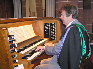 Organist John Riley playing